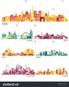 Find Skyline Detailed Silhouette Set Paris London stock images in HD and millions of other royalty-free stock photos, illustrations and vectors in the Shutterstock collection. Animal Silhouette, Silhouette Vector, Color Palette Challenge, Travel Album, Skyline Silhouette, City Sky, City Illustration, Madrid, Art Background