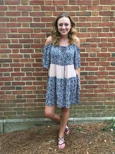 Off-the-shoulder print blocked dress. A great transitional piece from Summer to Fall.