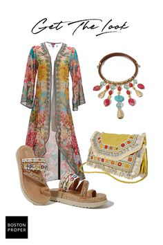 Top off any resort-wear look with this sheer, floral printed embellished flare-sleeve duster jacket that does double-duty as a swimsuit cover-up for poolside aspirations. Classy Trends, Boho Trends, Duster Jacket, Jacket Dress, Colourful Outfits, Colorful, Visit Boston, Boho Sandals, Boston Proper