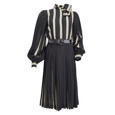 Bill Blass black and cream silk stripe dress 1970s