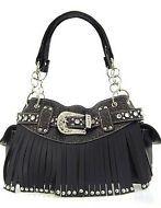 Rhinestone Buckle Fringe Soft Faux Leather Satchel Handbag