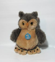 Vintage DAKIN Gray Brown Owl 1986 by BeanzVintiques on Etsy