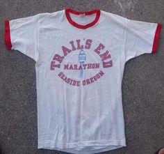 Vtg 70s Paper Thin Large Seaside Oregon Trails End Marathon Ringer Tee T Shirt | Clothing, Shoes & Accessories, Men's Clothing, T-Shirts | eBay!