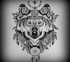 Wolf tattoo idea black and white
