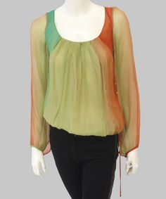 This Olive & Rust Ombré Silk Top by Natalia Romano is perfect! #zulilyfinds $95 !!