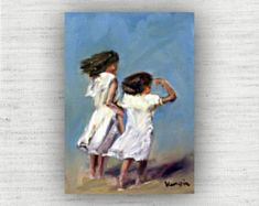 Two Girls - Oil Painting Print Home Decor Wall Art Print on Wood Block Seaside Art, Coastal Art, Beach Art, Painting Prints, Wall Art Prints, Fine Art Prints, Nautical Art, Home Decor Wall Art, Large Wall Art