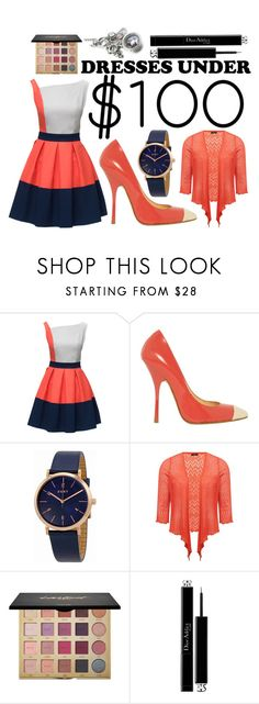 """""""Salmon, White, and Navy"""" by boringlyaverage ❤ liked on Polyvore featuring Lattori, Giuseppe Zanotti, DKNY, M&Co, tarte, Christian Dior and under100"""