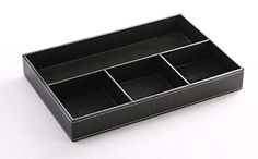 Iremico 4 Compartments Leatherette Valet Tray Desk or Dresser Top Organizer BoxBlack