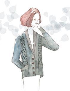 Sweater blazer watercolor illustration.  Sweater by Jennifer Fukushima, fashion drawing by Jeesoo Kim.