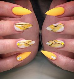 60 Gorgeous Natural Yellow Acrylic Nails Design Spring & Summer in 2019 - Page 28 of 58 - Almond Nails Yellow Nails Design, Yellow Nail Art, Nail Designs Spring, Cool Nail Designs, Spring Design, Acrylic Nail Art, Acrylic Nail Designs, Winter Nails, Spring Nails