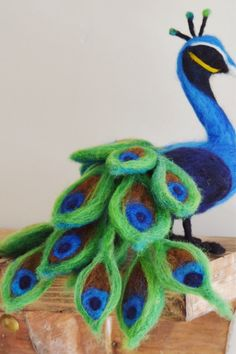 Needle Felted Peacock. Bird Animal Soft Sculture by The