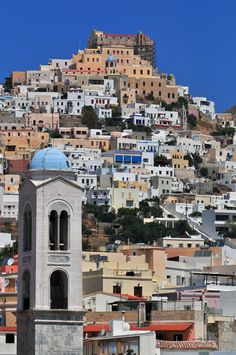Island of colours. City of Ermoupolis (Syros island), capital of Cyclades, Greece.