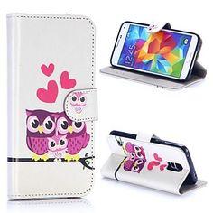 pöllö sukumalli lompakko tyyli magneettinen läppä jalustan tpu + pu nahkakotelo Samsung Galaxy S5 i9600 G900 – EUR € 8.99