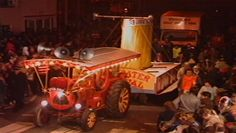 Local Charity Collection Cart at Bridgwater Carnival 1987. Somerset, UK.