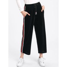 SheIn(sheinside) Striped Tape Side Velvet Culotte Pants (€18) ❤ liked on Polyvore featuring pants, black, elastic waistband pants, drawstring waist pants, cropped pants, striped wide leg trousers and draw string pants
