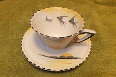 "Burleigh Ware Art Deco cup and saucer "" Vintage Crockery, Vintage China, Ceramic Teapots, Porcelain Ceramics, Teapots And Cups, Teacups, Swallows, Tea Service, High Tea"