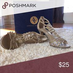 ADRIENNE VITTADINI GEORGA Mixed Metallic GOLD with Jeweled Rhinestone Embellishments Adrienne Vittadini Shoes Sandals