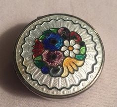 Antique Guilloche Enamel Compact Power/Rouge Box Silver Plate Chatelaine | eBay