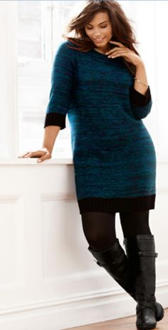 Lane Bryant plus size knit sweater dress and boots #UNIQUE_WOMENS_FASHION