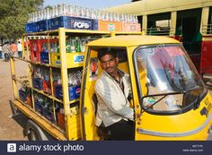 India Kerala Cochin Ernakulam Man Driving Van With Empty Bottles Stock Photo…