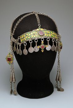 Morocco | Ceremonial headdress from the Ida ou Semlal | 20th century | Silver, enamel and glass