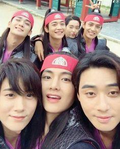 Kim taehyung and the 'hwarang' boys Bts Taehyung, Namjoon, Suga Suga, Bts Suga, V Bts Hwarang, Hwarang Drama, V Hwarang, W Kdrama, Kpop