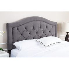 Features:  -Materials: Wood, 100% polyester velvet.  -Luxuriously padded upholstered headboard with exquisite detailing.  -Accented with distinctive tufting and silver nailhead trimming.  -Sturdy wood
