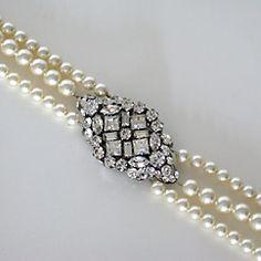 Triple Strand Pearl Bracelet with Filigree Center