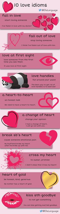 10 love idioms #LearnEnglish #English #ESLhttp://www.ellalanguage.com/