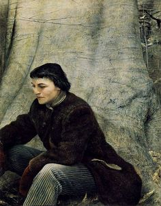 Andrew Wyeth Andrew Newell Wyeth (July 1917 – January was a visual artist,primarily a realist painter, working predomin. Jamie Wyeth, Andrew Wyeth Paintings, Andrew Wyeth Art, Claudio Bravo, Nc Wyeth, Chadds Ford, Portraits, Tempera, Museum Of Fine Arts
