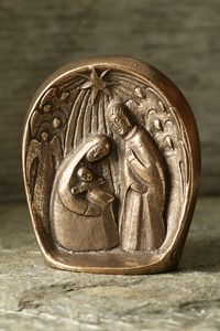 Bronze Freestanding Nativity Scene with Angels - A unique artistic piece to add to your Christmas decorations this year.