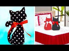 FAÇA VOCÊ MESMO ALMOFADA GATO FÁCIL   IDER ALVES - YouTube Sewing Projects For Kids, Crochet Projects, Sewing Crafts, Sewing Pillows, Diy Pillows, Retro Room, Fabric Pen, Cat Pillow, Animal Pillows