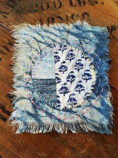 Japanese Boro Sashiko Slow Stitch mending patch Natural Indigo Full Moon Hand Dyed Patchwork Applique square