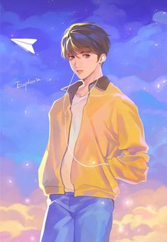 this is a drawing of Jungkook while listening to his song euphoria Jungkook Fanart, Kpop Fanart, Jungkook Lindo, Jungkook Cute, Bts Chibi, Anime Kunst, Anime Art, Jungkook Mignon, Anime Boy Zeichnung