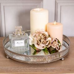 Large Silver Mirrored Tray Ornate Wedding Table Centre Candle Plate Chic Gift - The tray has a mirrored base which reflects light beautifully in to any room. We have a smaller tra - Mirror Tray, Mirrored Tray Decor, Silver Tray Decor, Silver Table, Table Mirror, Silver Trays, Wedding Table Centres, Tray Styling, Decorating Coffee Tables