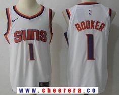 9b2a8f461 Men s Phoenix Suns  1 Devin Booker New White 2017-2018 Nike Swingman  Stitched NBA