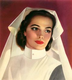 Lou Shabner was already an accomplished illustrator in his native England before becoming one of Brown and Bigelow's last pin-up painters. He often worked in gouache on board, which includes this example month from his 1952 monograph calendar. History Of Nursing, Medical History, Nurse Photos, Nurse Art, Nursing Profession, Vintage Nurse, Pin Up Girls, Female Art, Beauty Women