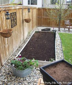 Rocks around our raised bed.