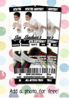 Karate Taekwondo Birthday Party Invitation Ticket by DigiPopCards
