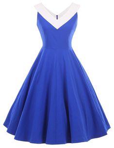 4b1dfed00f45 Women's Clothing, Dresses, Cocktail, Womens 1950s Vintage Dress V-Neck Dresses  Swing Stretchy Dresses - Royal Blue - C812GGMIXW9 #Clothing #womenfashion  ...