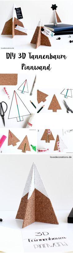 DIY 3D Tannenbaum Pinnwand aus Kork