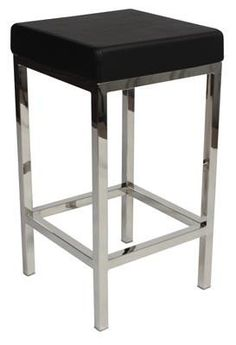 """Albany"" Stainless Steel Frame Backless Padded Bar Stool in Black - AU$119 https://www.simplybarstools.com.au/products/albany-stainless-steel-frame-backless-padded-bar-stool-in-black – Simply Bar Stools - steel, backless, fixed leg, bar stools. #Australia #Furniture"