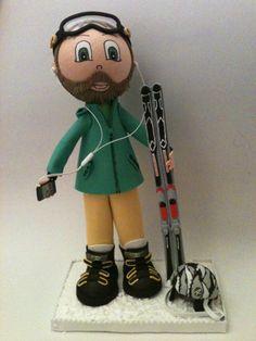 Fofucho esquiador personalizado para regalo a un apasionado de las pistas.