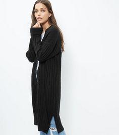 Jumpo Black Fluffy Longline Cardigan | New Look | Pinterest ...