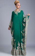 Verde luxo vestidos manga comprida apliques Abaya Dubai Kaftan Dubai árabe vestidos de noite vestidos da moda ED581(China (Mainland))