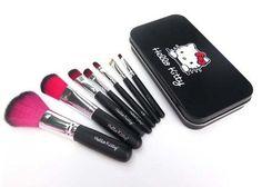 New Pro Hello Kitty Makeup Cosmetic Brush 7PCS Set Kit Iron Metal Box Cute Gift  #Unbranded