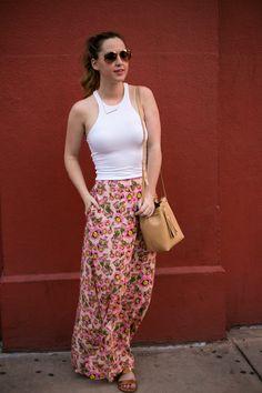 Cactus Flower Skirt | White Crop Top | Camel Bucket Bag