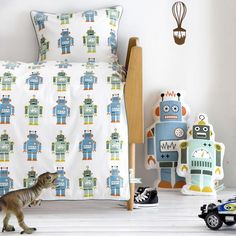 Robot Organic Cotton Toddler Bedding and Posh Inspiration 1-866-Poshtot in Designer Rooms : Out Of This World at PoshTots