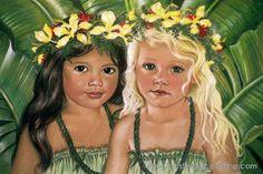 'Halau Sisters' by Mary Koski (American) ['halau' means 'school,' 'academy,' in Hawaiian] Hawaiian Girls, Hawaiian Art, Hawaiian Dancers, Hawaiian Decor, Tahiti, Meaningful Paintings, Polynesian Art, Hula Dancers, Hula Girl