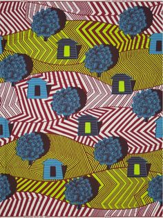 palais-houses by Vlisco. Love the way the black shadows pop the houses and trees, while the chevron flattens the terrain! Very clever.